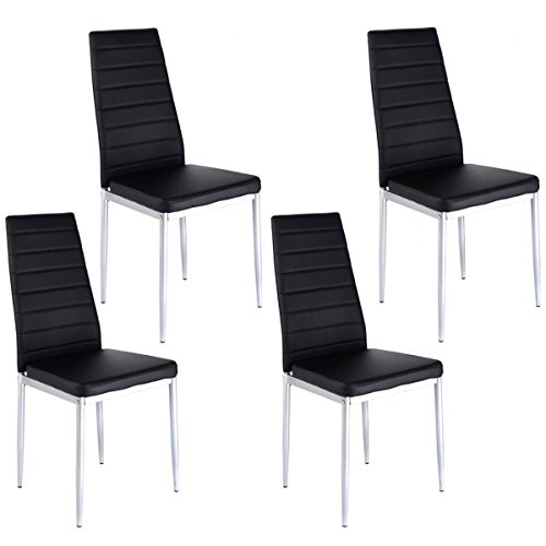 Alitop Set of 4 PU Leather Dining Side Chairs Elegant (Oval Set Folding Chair)