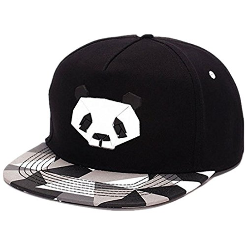 Flat Hat Bill - King Star Men Solid Flat Bill Hip Hop Snapback Baseball Cap Panda-Black
