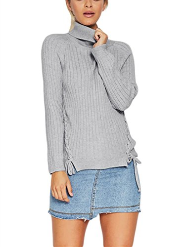 (Ouregrace Women's Casual Long Sleeve Turtleneck Braided Knit Sweater Pullover Top ((US 16-18)XL, Gray))
