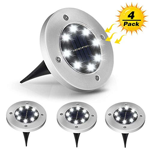 Addigital Solar Ground Lights - Disk Lights, 8 LED Solar Lights Outdoor Waterproof Garden Landscape Lighting for Pathway Patio Lawn Yard Deck Walkway Decorations 4 Pack White