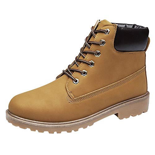 HAPPYSTORE Women Boots Retro Solid Ankle Thick Sneakers Lace-up Short Round Toe Casual Shoes]()