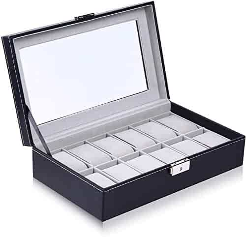 Ohuhu Watch Box, 12 Slot Watch Case PU Leather Real Glass Lid Watch Display Case, Watch Organizer Watches Storage Case, for Men and Women Valentines Day Gifts Birthday Presents- Grey