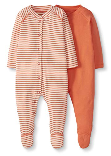 Moon and Back by Hanna Andersson Baby 2-Pack Organic Cotton Footed Sleep and Play, Coral, 0-3 months