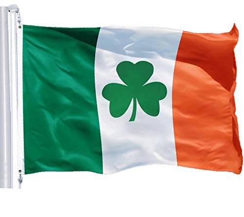 G128 - Irish Flag (Shamrock) | 3x5 feet | Printed 150D - Indoor/Outdoor, Quality Polyester, Brass Grommets, Much Thicker and More Durable Than 100D and 75D Polyester