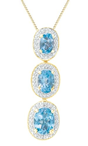 Jewel Zone US Simulated Blue Topaz & White Natural Diamond Frame Three Stone Pendant in 14K Gold Over Sterling Silver -