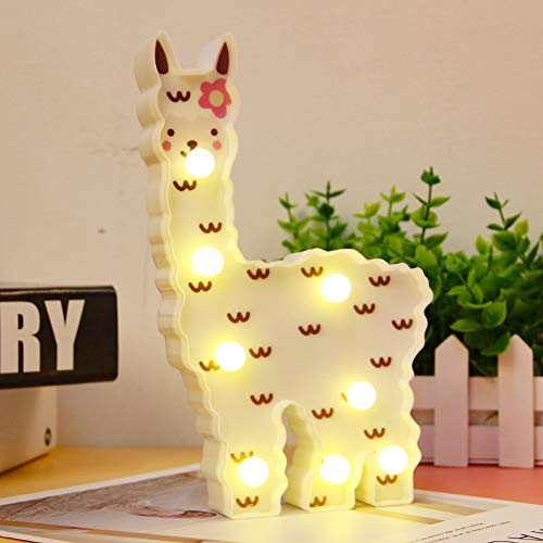 WHATOOK Llama Night Light Kids Gifts LED Painted Alpaca Night Light, Light Up Llama Decor Signs Wall Decoration for Girls Room,Bedside,Home (White Llama Cloud)