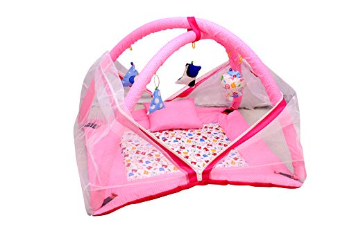Tender Care Baby Kick and Play Gym with Mosquito Net and Baby Bedding Set (Pink)