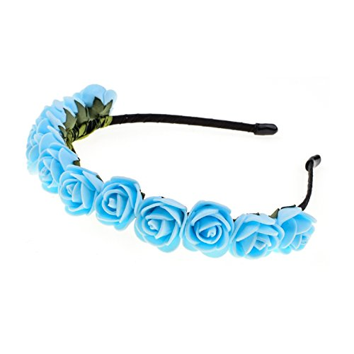 Love Sweety Boho Floral Crown Rose Flower Headband Hair Wreath (Blue)