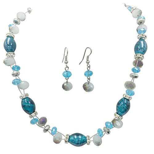 Glass Beaded Illusion Wire Necklace & Dangle Earring Set (Pierced Earrings Blue) - Faux Pearl Illusion Necklace Earrings