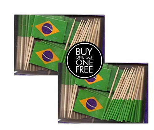 2 Boxes of Mini Brazil Toothpick Flags, 200 Small Brazilian Flag Toothpicks or Cocktail Sticks & Picks