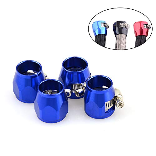 Tasan Racing 4Pcs/Pack Flexible Rubber AN6 Hose Pipe Clamp with Screw Band for Fuel/Oil/Diesel/Gas/Air and Water Hose Tube Blue
