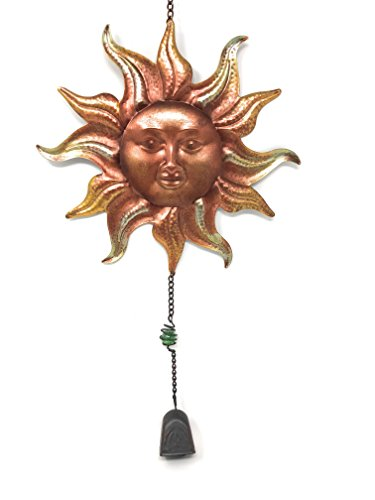 (Metal Sun Face Wall Decor for Indoor or Windchime for Outdoor (Copper Gold))