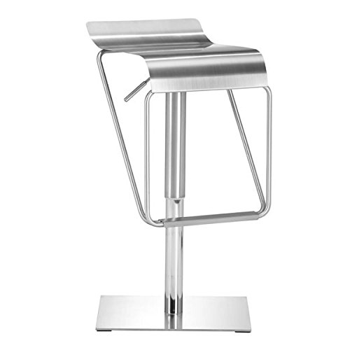 Zuo Dazzer Barstool, Brushed Stainless (Best Zuo Modern Home Furnishings Lift Chairs)