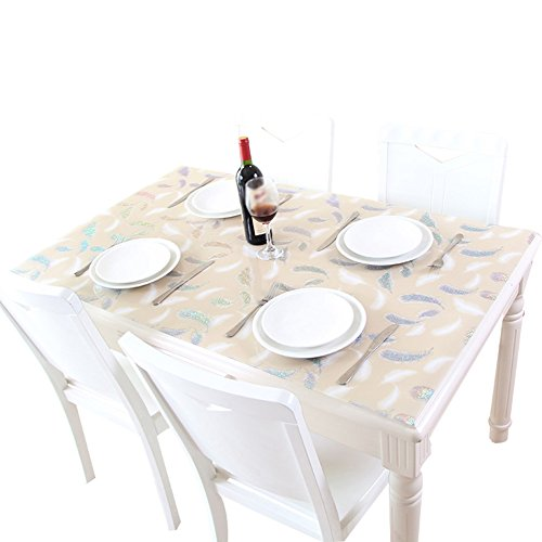 Light Brown 80150cm ZWL Waterproof Tablecloth, PVC Table Mat Glass Plastic Tablecloth Dining Table Writing Desk TV Cabinet Tablecloth Soft Table Mat Glass Table Table Mat Restaurant Cafe Tablecloth Length 60150cm ,Add vitality to the kitchen ( color   Wh