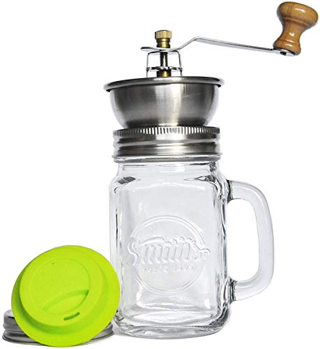 mic Grinder with Silicone Drinking Lid - Amazing Manual Adjustable Coffee Grinder | Smith's Mason Jars ()