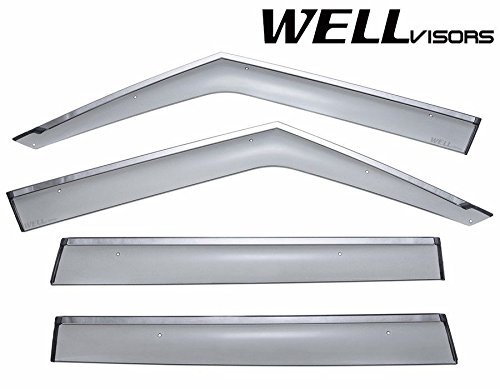 WellVisors Side Window Wind Deflector Visors - Made for and Compatible with Land Rover Range Rover 2003 2004 2005 2006 2007 2008 2009 2010 2011 2012 with Chrome Trim