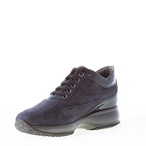 con Interactive Blu Laminata H e camoscio Blu Donna Denim Vernice Sneaker Hogan in 50xqzwTqR