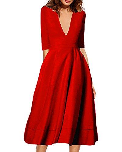 Femme Robe Longue 3/4 Manches Profond V Robe de Crmonie Robe de Soire Rouge