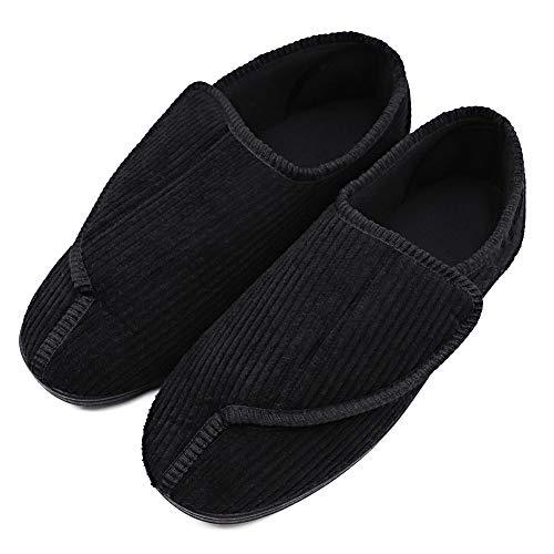 MEJORMEN Mens Diabetic Slippers Adjustable Warm Comfortable House Non-Skid Shoes for Swollen Feet, Diabetes, Swelling, Edema, Arthritis, Neuropathy, Stripe Black, 10 (Mens Extra Extra Wide Slippers Swollen Feet Diabetic)