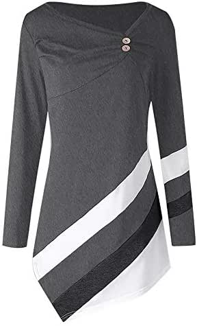 NOMUSING Crewneck Sweatshirt Women Oversized Autumn Winter Striped Asymmetrical Tunic Tops Plus Size Blouse T-Shirts