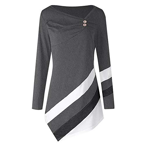 - Women Blouse Rakkiss Women Autumn Striped Tops Asymmtrical Tunic Winter Tops Plus Size T-Shirts (Gray, 4XL)