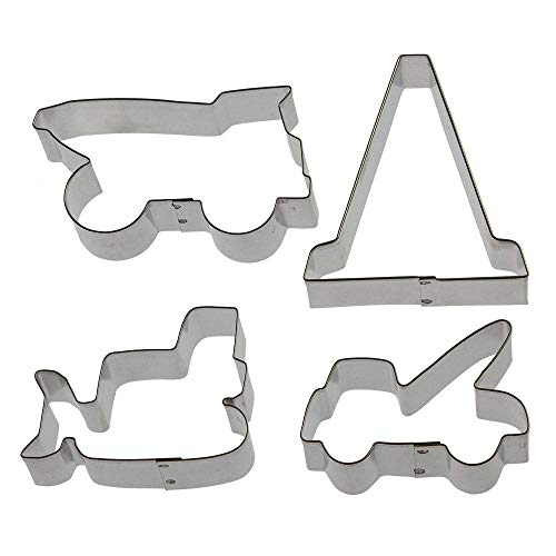 (Construction Vehicles Cookie Cutter Set - 4 Piece - HS0430 - Bulldozer 3 in, Dump Truck 3.75 in, Tow Truck 3 in, Traffic Cone 3.5 in - Foose - USA)