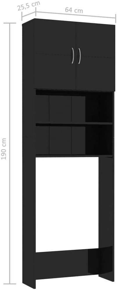 Cupboard Cabinet Bathroom Toilet Recess for Washing Machine Black High Gloss Laundry Room Storage Utility 190x64x25.5cm
