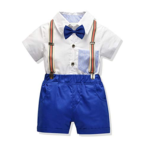 Carlstar Little Boys Gentleman Outfit Suits,Baby Boys Short Pants Set,Short Sleeve Shirt+Suspender Pants+Bow Tie 4Pcs (White, 2-3T/90) ()