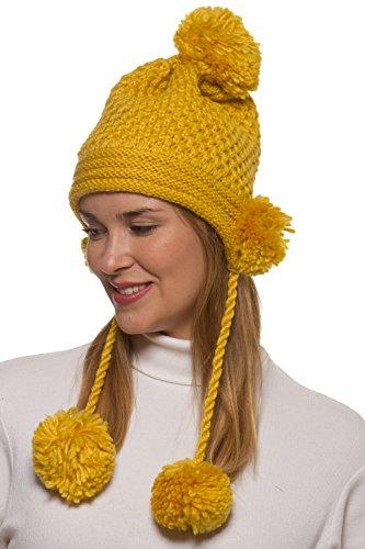 r Crochet Knit Hat With 5 Pom Pom's A50 - Yellow (Fun Pom Poms)