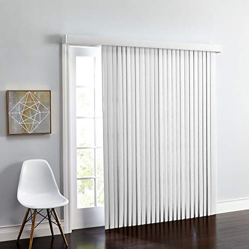 BrylaneHome Embossed Vertical Blinds – White, 90I W 84I L