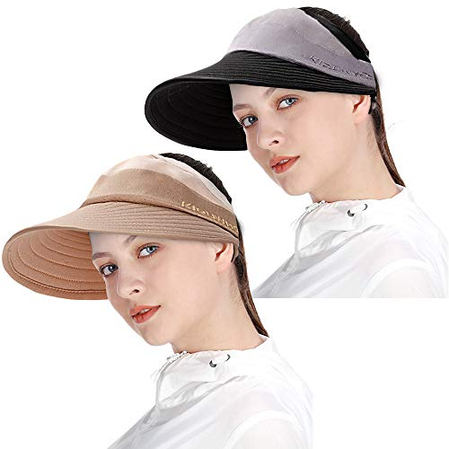 Sun Visor Hats for Women, Sun Hats for Women with UV Protection Wide Brim Packable Beach Sun Protection Hats (Black+Khaki(2 Pack))