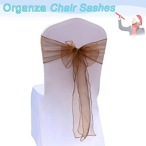 BIT.FLY Organza Chair Sashes for Wedding Party - Chair Cover Sashes/Bows Sash/Ribbon/Tie Decor for Banquet, Catering, Reception, Chair Decorations (Chocolate, Pack of 100) ()