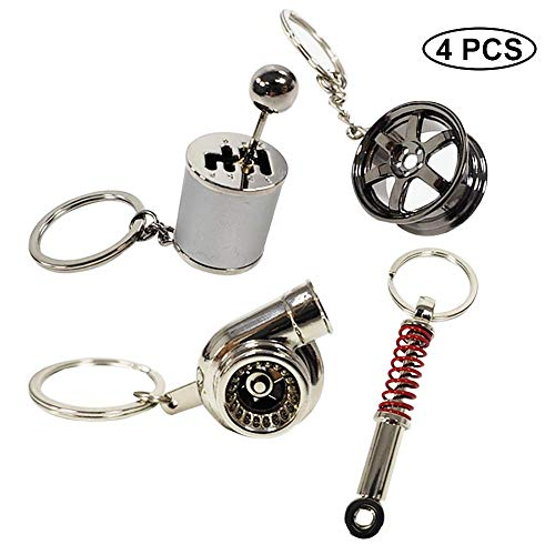 Ispeedytech 4 Auto Part Model Metal Keychain/Key Ring/Holder Set- Wheel Rim Tyre,Spinning Turbo, Six Speed Manual Transmission Shift, Spring Shock Absorber Keychain 6 Speed Transmission Gear Set
