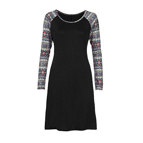 LandFox Flapper Dress,Dress for Women, Casual Geometry Printed Long Sleeve O-Neck Loose Knee-Length Dress -