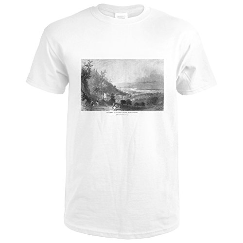 Wyoming, Pennsylvania - Panoramic Descending View of Wyoming Valley (Premium White T-Shirt Large)