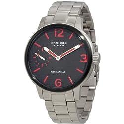 Akribos XXIV Men's AK496RD Essential Mechanical Stainless Steel Bracelet Watch