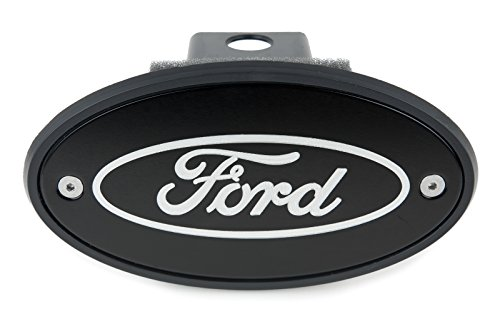 (Ford Oval Hitch Receiver Cover - Black - Silver Engraved)