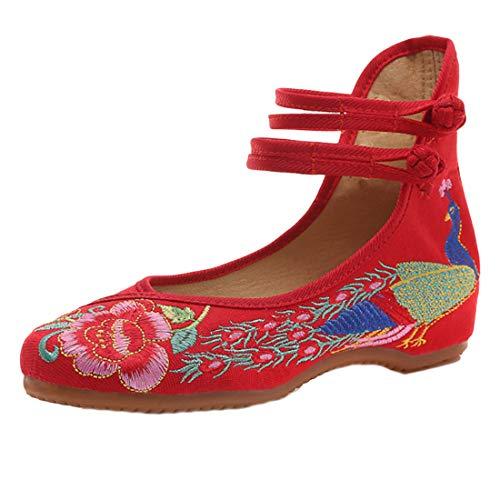 À Femmes Rouge Style L'usure Brodées Chinois Ronde Tête Muchao Des Résistant Mariage Mode Chaussures De ZB65WaHIH