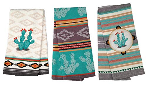 - Simply Southwest Cactus Kitchen Towels Set of 3, Colorful Terry Towel - Woven Jacquard Towel - Ornamented Cactus Tea Towel