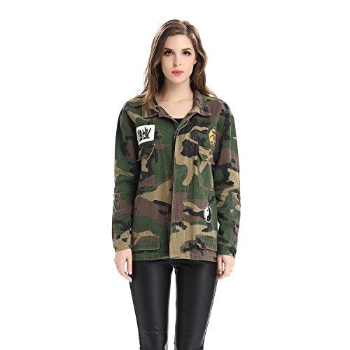 62f68524b0 Escalier-Womens-Military-Camouflage-Camo-Jacket-Denim-Coats