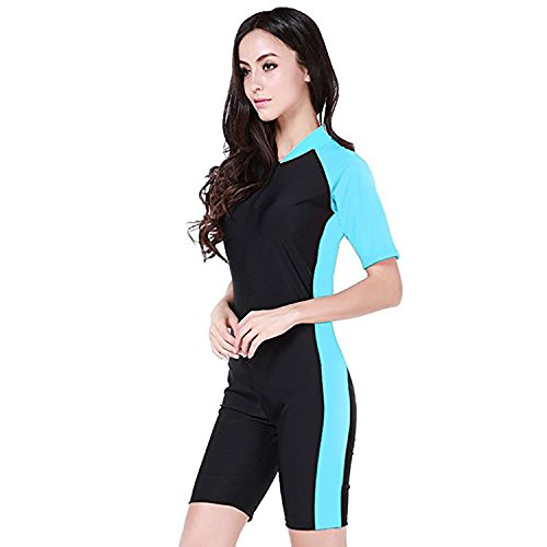 Cahayi One-Piece Women Surfing Snorkeling Swimsuit Short Sleeve Swimwear Plus Size ()