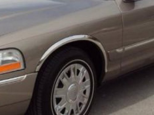 CROWN VICTORIA SEDAN 2003-2010 FORD & GRAND MARQUIS 2003-2010 MERCURY (4 Pc: Stainless Steel Fender Trim - Clip on or screw in, hardware included - 1.75