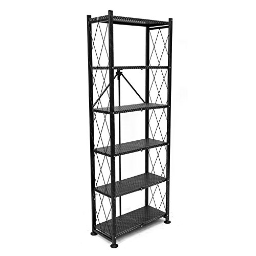 origami rb-otm-bla 6-tier folding pop-it bookshelf in black weave