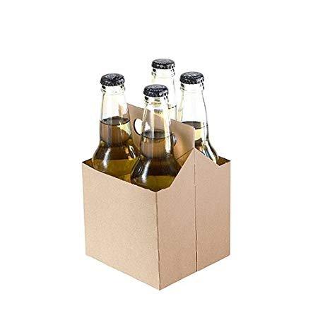 4 Pack Cardboard Beer Bottle Carrier For 12 Ounce Bottles (Pack of 50) (Kraft) by Porpoise Brewing
