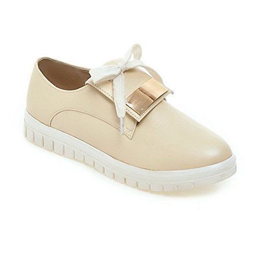 AllhqFashion Womens Lace Up Low Heels PU Solid Round Closed Toe Pumps-Shoes Apricot X1aiz