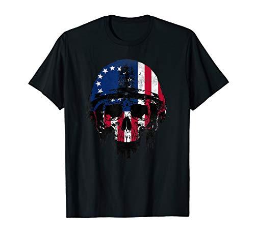 - Betsy Ross Flag War Skull Helmet Military T-Shirt