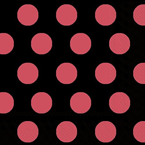 Ideal Home Range 20-Count Big Dots 3-Ply Paper Lunch Napkins, Black and Red