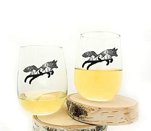 Wine Glasses - Fox and Hare - Set of Two Stemless Wine Glasses - 17oz.