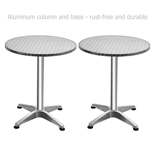 Round Top Aluminium Bar Table Commercial Residential Rust-free Waterproof UV Resistant Home office Kitchen Indoor Outdoor Furniture - Set of 2 #1383a (Outdoor Sets Australia Furniture)