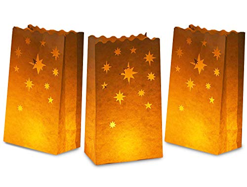 White Paper Luminary Bags - 24-Pack Candle Lantern Bags, Fire-Retardant, Star Luminaries for Christmas, Weddings, Birthday Party Decoration, Use with Tealights, Votive, 5.9 x 10 x 3.5 Inches -